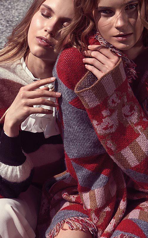 Abrigo lana estampado mujer Nenette