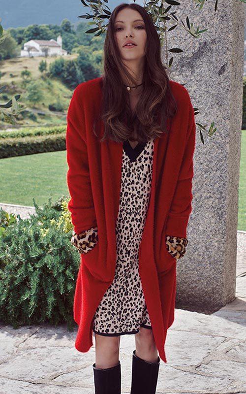 Abrigo lana rojo Mujer Luckylu