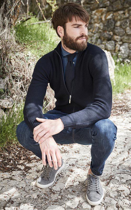 Chaqueta lana cremallera azul marino hombre GranSasso