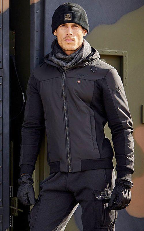 Chaqueta nylon capucha negra hombe AeronauticaMilitare