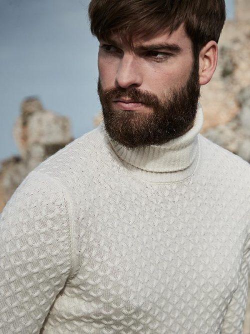 Jersey lana cuello alto crudo doblado hombre GranSasso