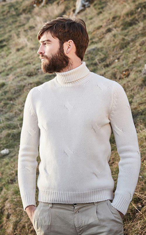 Jersey lana cuello alto crudo hombre GranSasso
