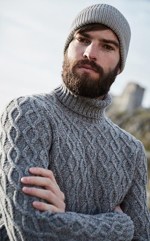 Jersey lana cuello alto gris hombre GranSasso
