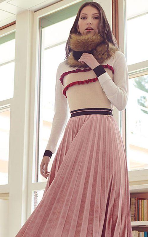 Jersey lana volantes rosa Mujer Luckylu