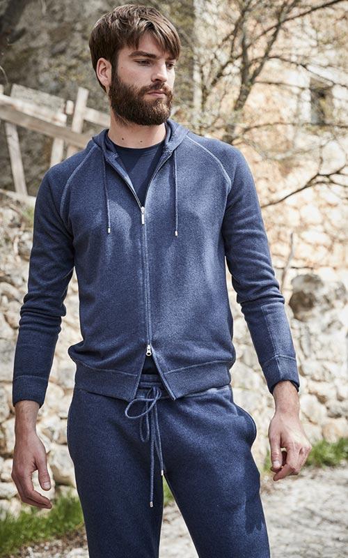 Sudadera algodón capucha azul hombre GranSasso