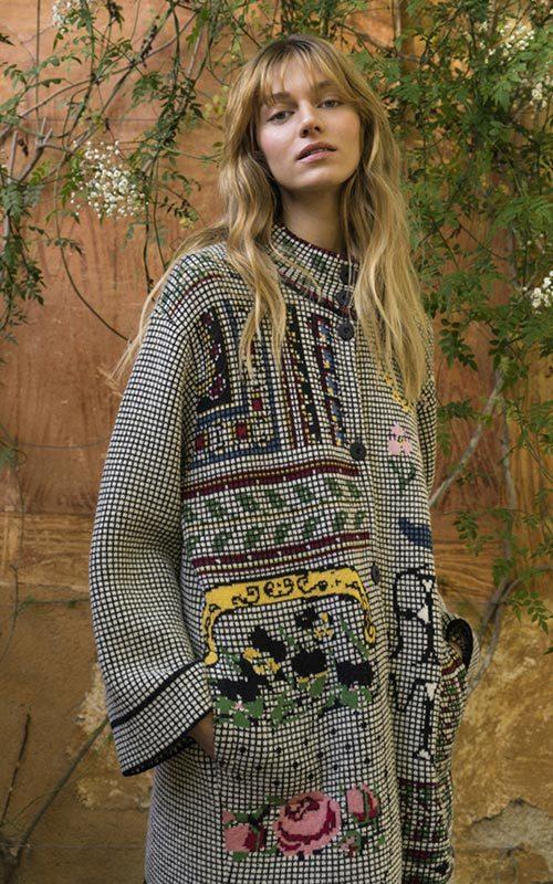 Abrigo lana estampado cuadros mujer Aldomartins