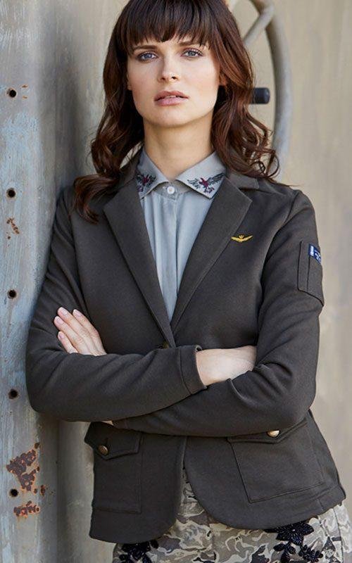Blazer neopreno gris mujer AeronauticaMilitare