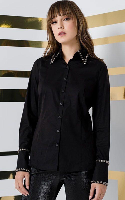 Blusa popellini tachuelas negra mujer access