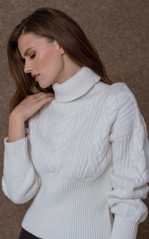 Jersey lana cuello alto crudo mujer access