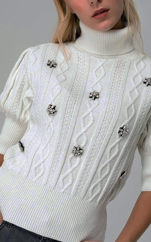 Jersey lana cuello alto swaroski crudo mujer access