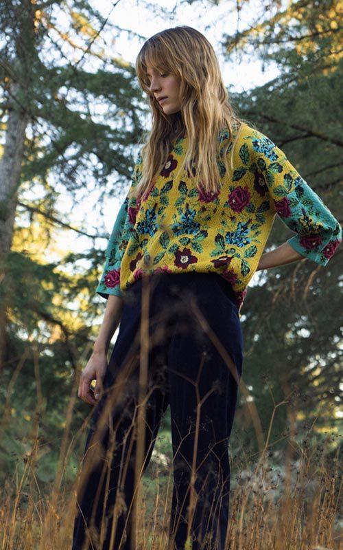 Jersey lana oversize estampado colores mujer Aldomartins