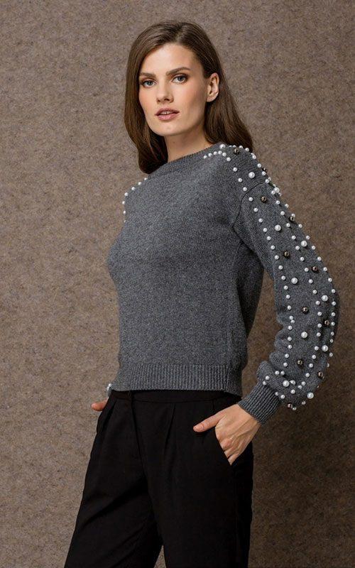 Jersey lana perlas gris mujer access