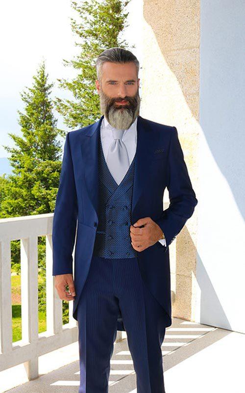Jucla chaqué azul con roche y chaleco a contraste hombre Affari