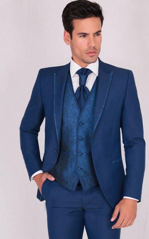 Jucla traje azul con solapa Ribeteada roche y chaleco a conjunto hombre Affari