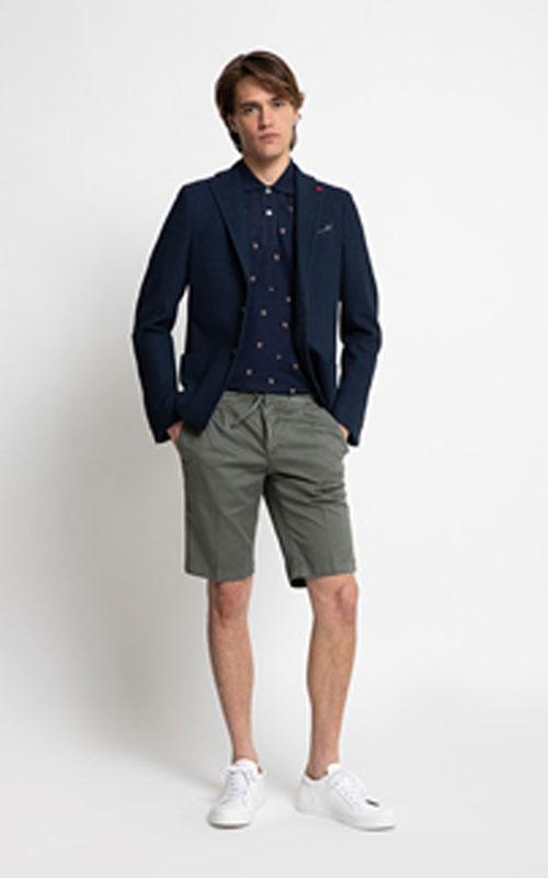 Americana de algodón azul marino