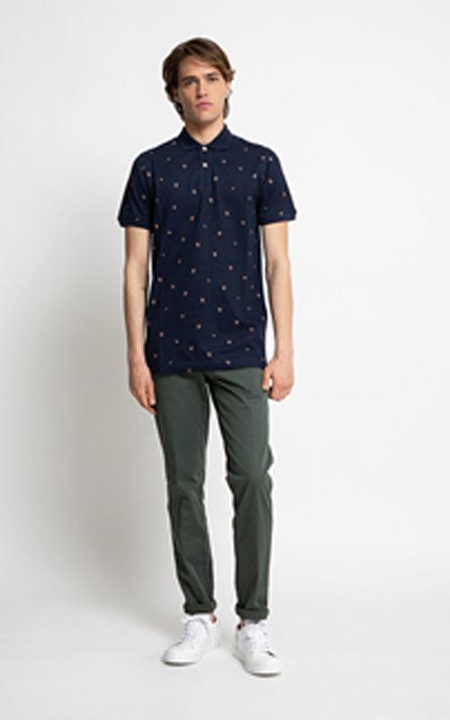 pantalón chino de algodón azul