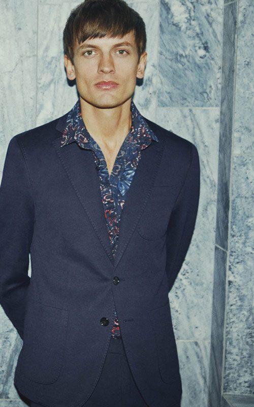 Vestido de rallas azules camisa lana fria