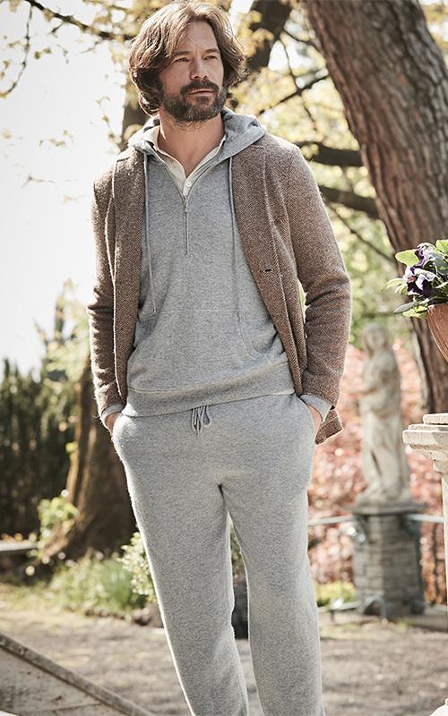 Juclà Americana lana punto beige Conjunto lana jogging gris