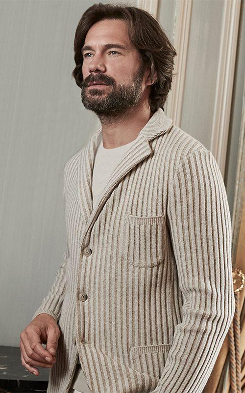 Juclà Americana lana punto ingles crudo Jersey lana cuello redondo crudo