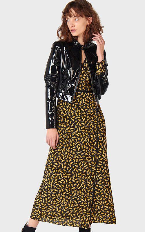 Juclà Cazadora charol negra Vestido estampado amarillo y negro