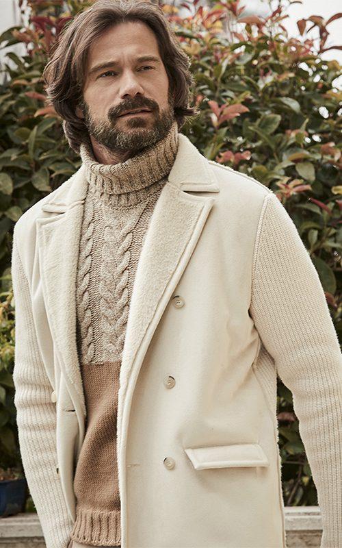 Juclà Chaquetón marinero crudo Jersey cuello alto beige y marrón