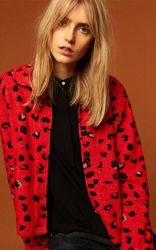 Juclà Chaqueta lana punto print roja