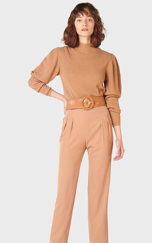 Juclà Jersey lana cuello perkins camel Pantalón pinzas camel