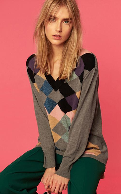 Juclà Jersey lana cuello pico intarsia gris