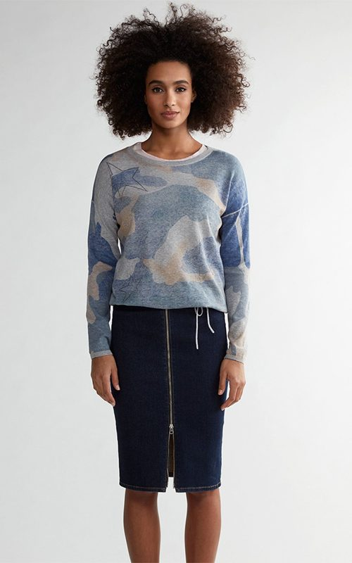 Juclà Jersey lana cuello redondo mimetizado Falda tejana cremallera
